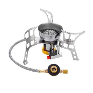 Windproof Camping Stove Foldable Backpacking Stoves Ultralight Portable Gas Cooker with Piezo Ignition, Pocket Size for Outdoor Camp Kitchen, Hiking and Traveling