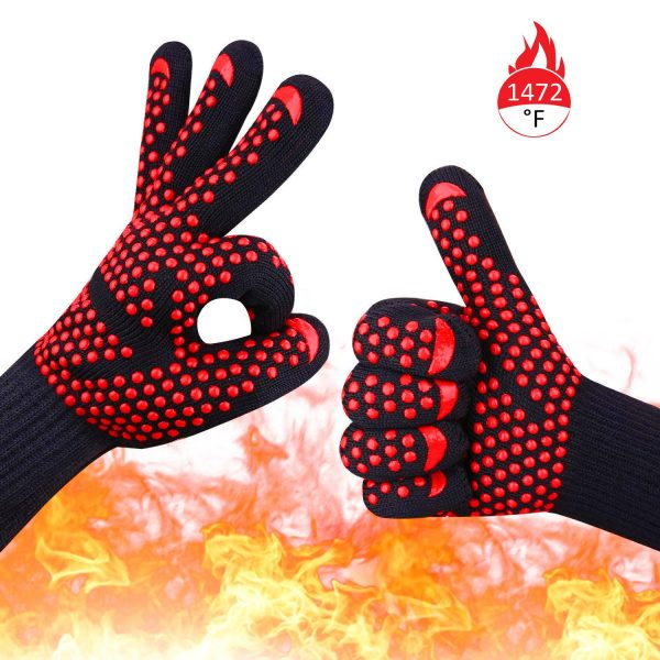 BBQ Grill Gloves, 1472°F Extreme Heat Resistant Silicone Non-Slip Insulated Oven Mitts for Cooking, Grilling Potholder, Kitchen, Barbecue, Baking,Smoker Fireplace, Welding, Cutting, 1 Pair