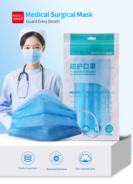 3 Layer Disposable Face Mask Protective Dust Proof Anti-bacterial Breathable Mask Filter Germ Protection Mask Mouth Masker Maska